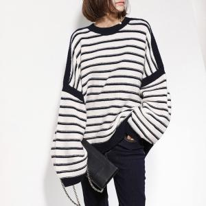 f870b26e534fc Street Style Striped Oversized Sweater Bat Sleeve Woolen Korean Sweater