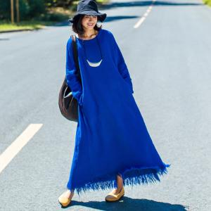 Simple Design Long Sleeve Loose Linen Clothing Fringed Holiday Dress