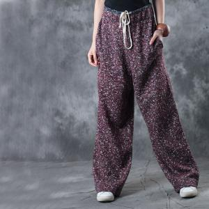 Vintage Style Drawstring Waist Wide Leg Pants Womans Palazzo Pants