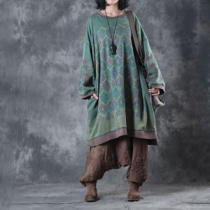 Vintage Prints Plus Size Hoodie Cotton Green Hoodie For Woman