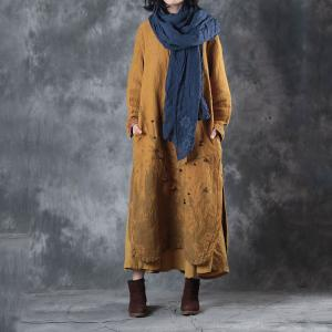 Chinese Style Plum Blossom Loose Linen Clothing Fur Balls Winter Vintage Dress