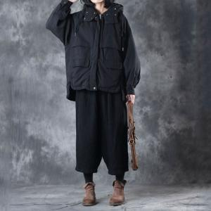 Youthful Cotton –Padded Black Coat Korean Hooded Short Puffer Jackets