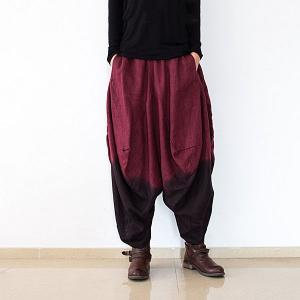 Gradient Colors Linen Harem Pants Spring Womans Balloon Pants