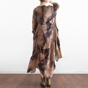 High-Quality Flouncing Printing Silk Dress Beautiful Two-Pieces Dress