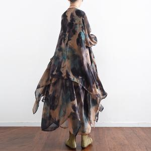 Spring 2018 Flowers Prints Vintage Silk Dress Flouncing Dress With Outerwear