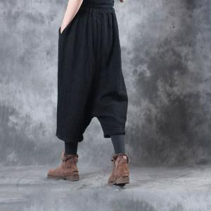 Casual Style Comfortable Linen Cropped Pants Wide Leg Black Trousers