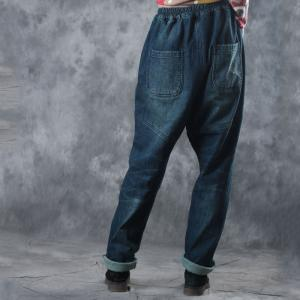 Vintage Style Rose Prints Baggy Jeans Womans Denim Pants With Lining