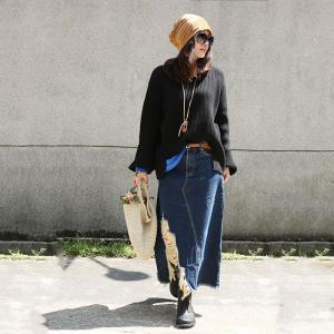 Street Style Denim Ripped Skirt Blue Long Jean Skirt