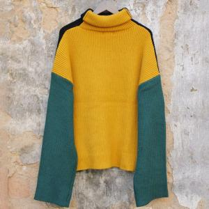 Yellow Contrast Turtleneck Sweater Korean Fashion Oversized Sweater