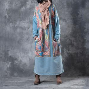 Artistic Prints Plus Size Fleece Dress Long Sleeve Cotton Blue Dress