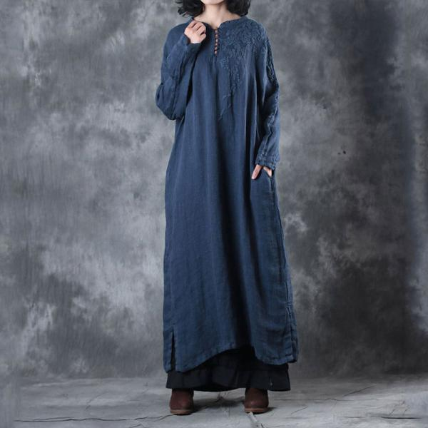 Beautiful Handmade Embroidered Dress Loose Linen Kaftan Dress