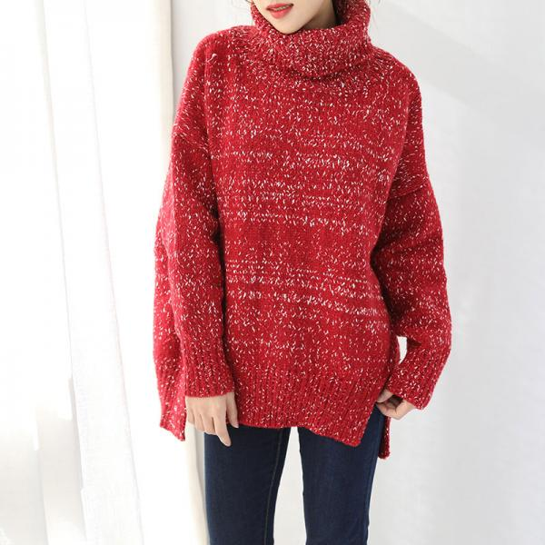 Loose-Fitting Woolen Turtleneck Sweater Womans Red Sweater