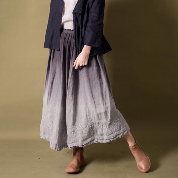 Beautiful Gradient Vintage Maxi Skirt Jacquard Loose Linen Skirt
