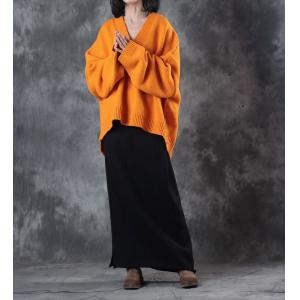 Deep V Long Sleeve Oversized Sweater Winter Woolen Orange Sweater