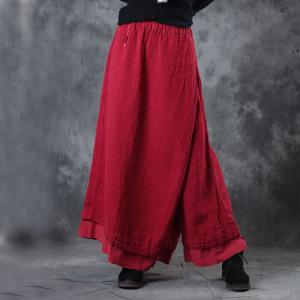Spring Fashion Layering Linen Wide Leg Pantskirt Womans Red Palazzo Pants
