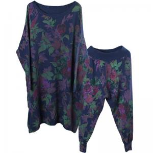 Resort Fashion Flowers Prints Senior Womans Pullover with Knitting Pants