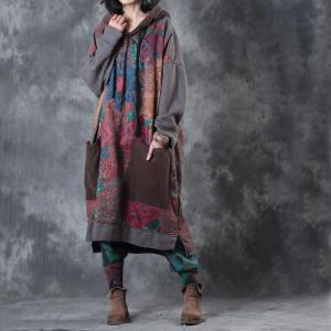 Rose Printing Plus Size Hooded Dress Cotton Casual Dress