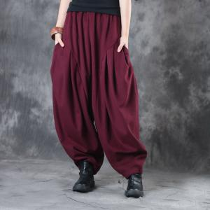 Elastic Waist Pleated Balloon Pants Womans Thick Yoga Trousers