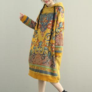 Spring Fashion Fleece Lining Korean Dress Loose Cotton Hoodie Dress