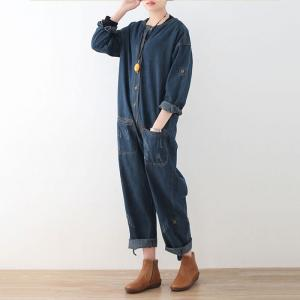 BF Style Single-Breasted Womens Dungarees Fashion Denim Overalls