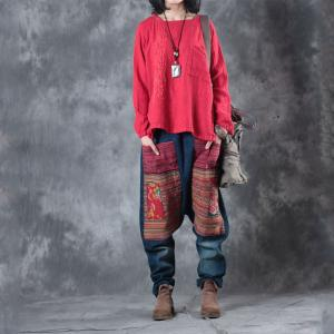 Beautiful Embroidery Layering Pockets Linen Shirt Loose Red Designer Blouse