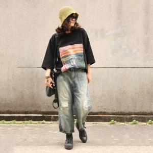 Street Style Patchwork Wide Leg Jeans Loose Straight-Leg Pants