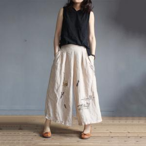 Spring Fashion Cotton Linen Pants Embroidered Wide Leg Trousers