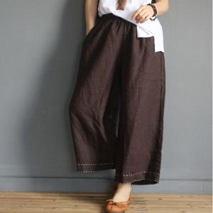 Hem Embroidered Plain Causal Pants Loose Cotton Line Slacks for Woman