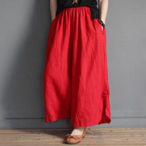 Chinese Buttons Loose Vintage Pants Casual Wide Leg Trousers