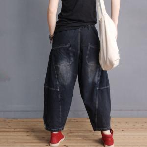 Color Fading Edge Slits Fashion Jeans Womans Cotton Baggy Jeans