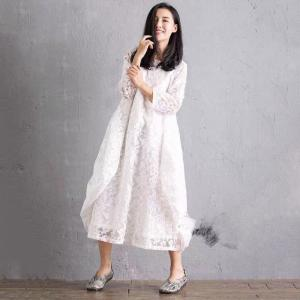 New Arrival Flowers Embroidery Silk Dress Beautiful Loose Flare Dress