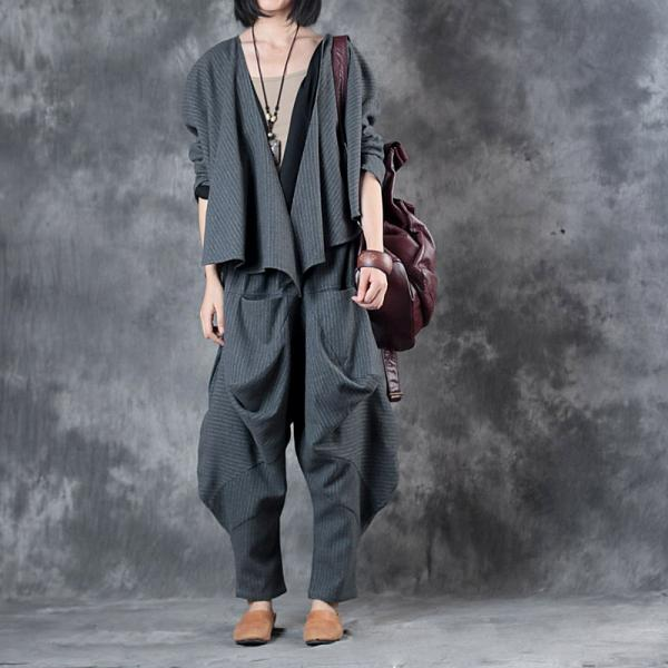 Original Design Woolen Short Blazers with Loose Gray Harem Pants