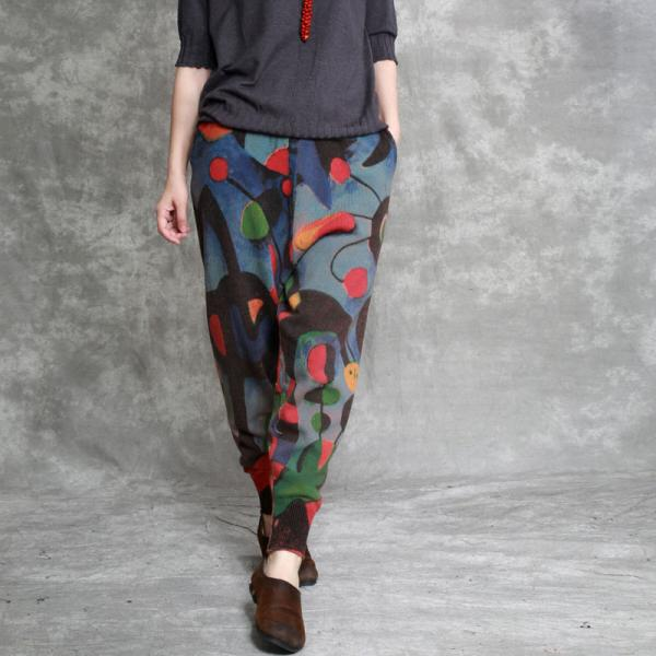 Artistic Prints Loose Cotton Linen Pants Womans Knitting Trousers