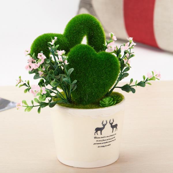 Artificial Heart Shaped Grass Silk Flowers Bouquet with Vase ...