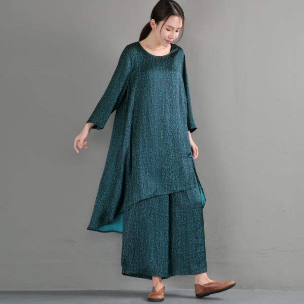 Asymmetrical Silk Plus Size Tunic with Green Wide Leg Pants
