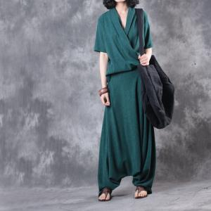 Special V-Neck Silk Top with Casual Green Designer Palazzo Pants