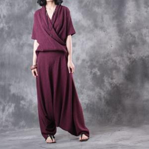 Summer Draped Designer Blouse with Plain Loose Flowy Pants