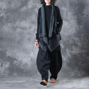 Plaids Splicing Draped Loose Linen Vest with Black Genie Pants