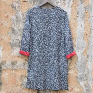 Hem Slit Loose Linen Floral Dress Vintage Plus Size Tunic