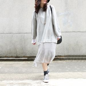 Ladylike Korean Chiffon Dress Long Sleeve Oversized Sweater Dress