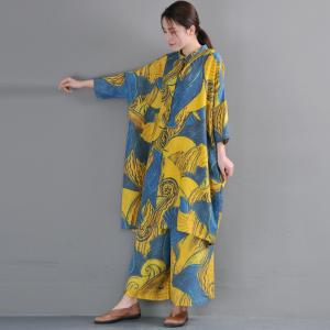 Artistic Prints Loose Linen Designer Blouse with Yellow Baggy Trousers