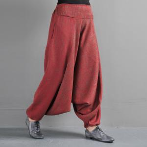 Original Design Loose Linen Harem Pants Womans Red Genie Pants