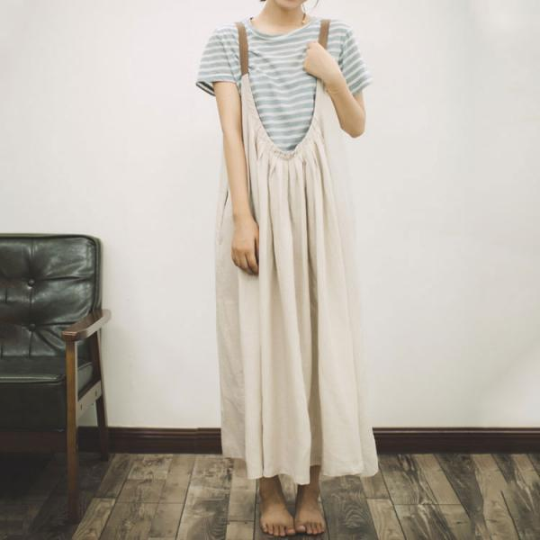 Beach Style Linen Loose Sundress Open Back Holiday Maxi Dress