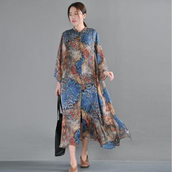 Over50 Style Vintage Flowers Chinese Dress Silk Oversized Shirt Dress with Camisole