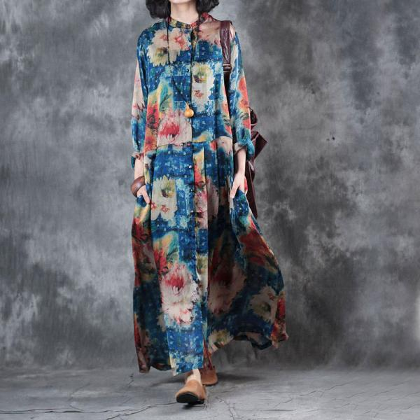 Blue Flowers Prints Pleated Dress Loose Beautiful Maxi Dress