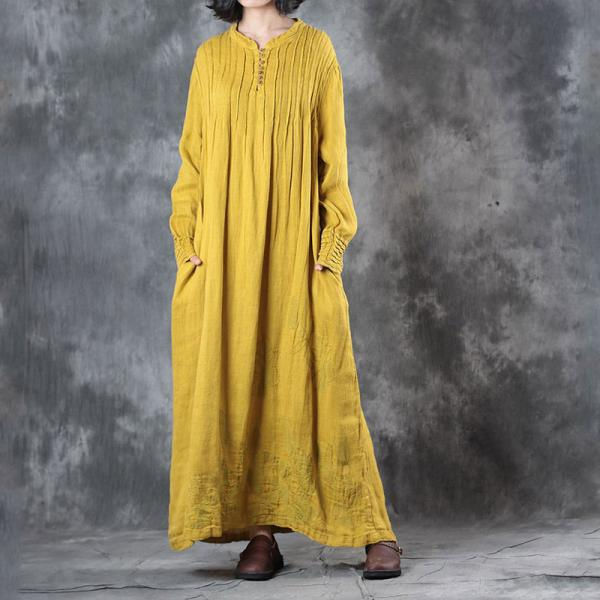 Loose Linen Beautiful Embroidered Dress Elegant Pleated Maxi Dress