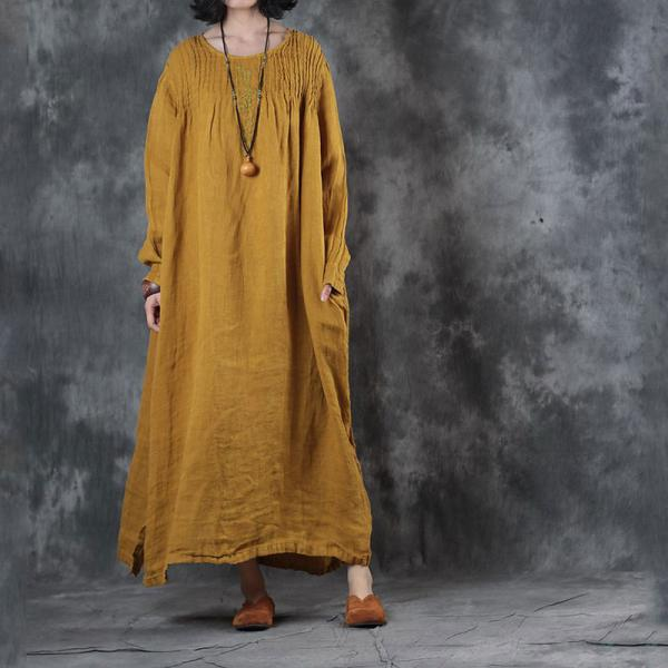 Large Size Pleated Embroidered Dress Linen Long Sleeve Dress
