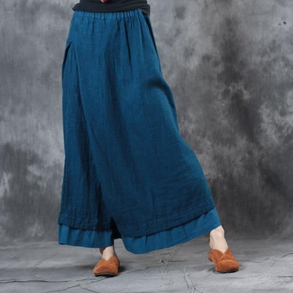 Layering Flouncing Wide Leg Pants Linen Fashion Trousers for Woman