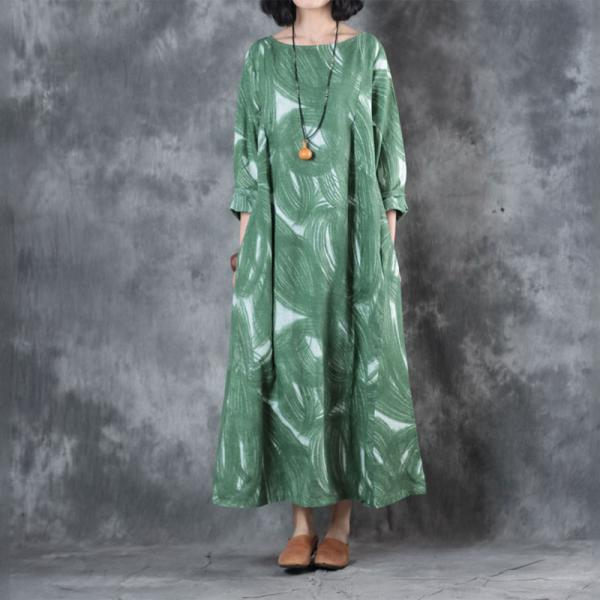 Round Neck Long Sleeve Fit and Flare Dress Beautiful Green Prints Dress