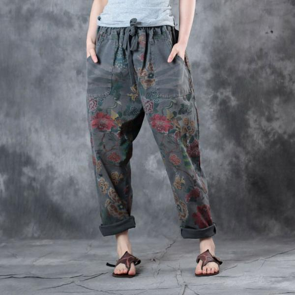 Drawstring Waist Rose Prints Canvas Pants Womans Loose Pants